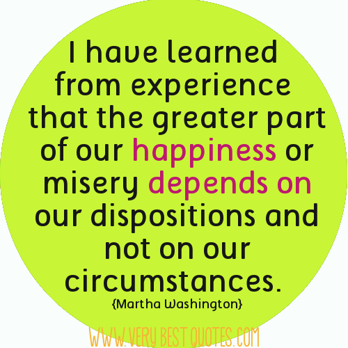 A quote from Martha Washington aboutnot being a victim of circumstance