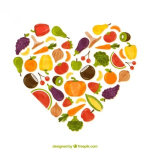 Heart filled with veggies courtesy of vector freepik who designed it.