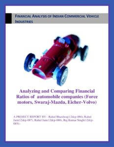SHORT TERM SOLVENCY ANALYSIS OF LEAD AUTOMOBILE PLAYERS IN INDIA PART 6